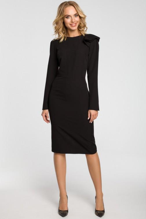 CM3105 Ołówkowa sukienka z falbankami na ramieniu - czarna