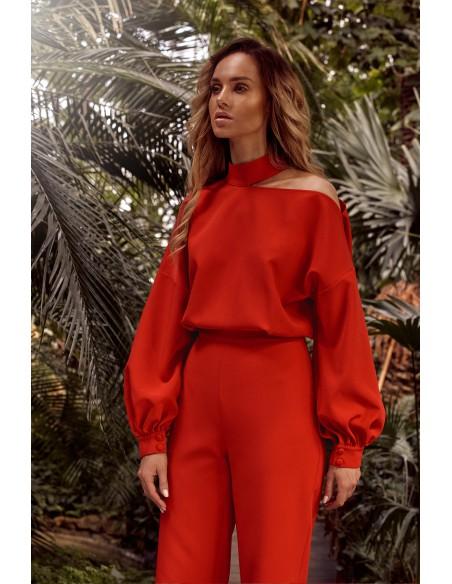 Kombinezon z bufiastymi rękawami - czerwony