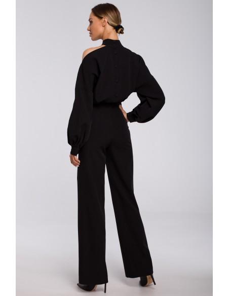 Kombinezon z bufiastymi rękawami - czarny
