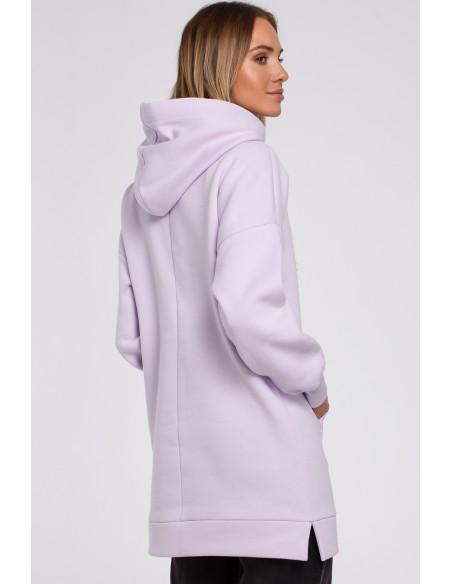 Bluza oversize z kieszenią typu kangurek - liliowa