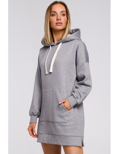 Bluza oversize z kieszenią typu kangurek - stalowa