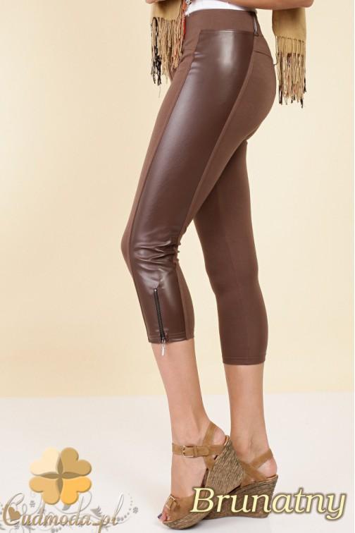 CM0257 Włoskie legginsy rybaczki szorty eko skóra - brunatne
