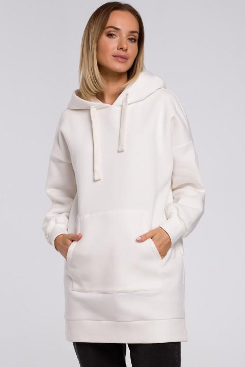 Bluza oversize z kieszenią typu kangurek - ecru