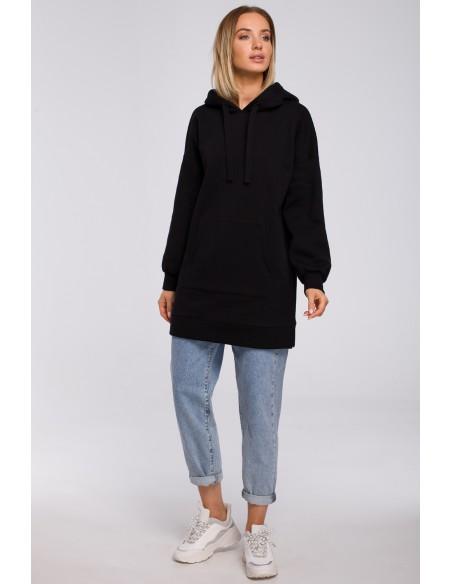 Bluza oversize z kieszenią typu kangurek - czarna