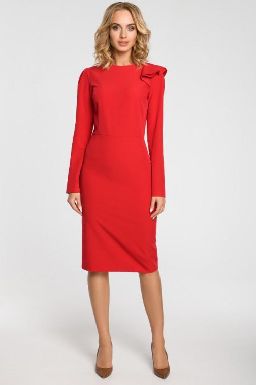 CM3105 Ołówkowa sukienka z falbankami na ramieniu - czerwona