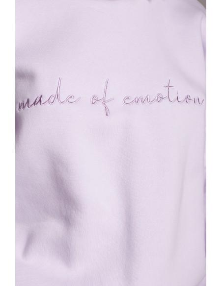 Bluza szeroka z haftem - liliowa