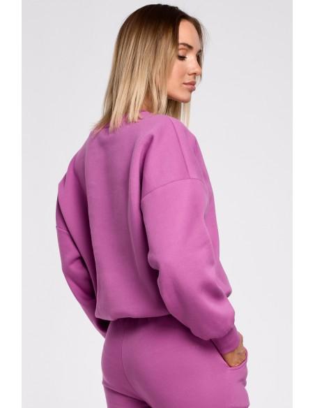 Bluza szeroka z haftem - lawendowa