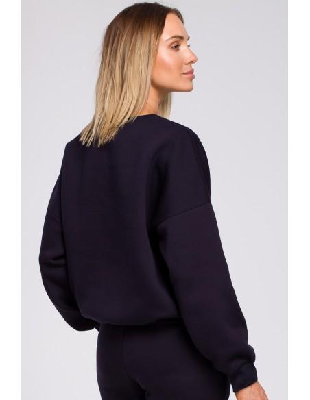 Bluza szeroka z haftem - granatowa