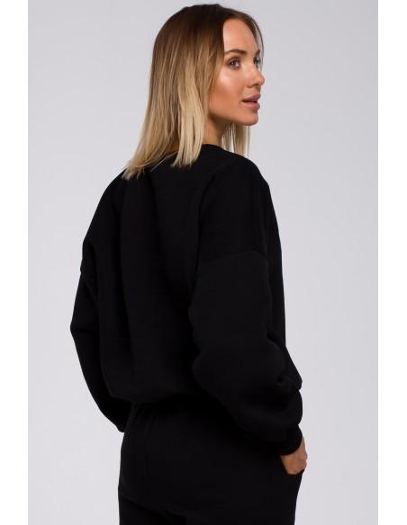 Bluza szeroka z haftem - czarna