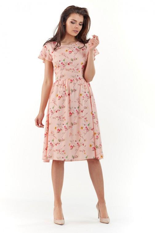 CM3726 Sukienka midi w kwiaty - różowa
