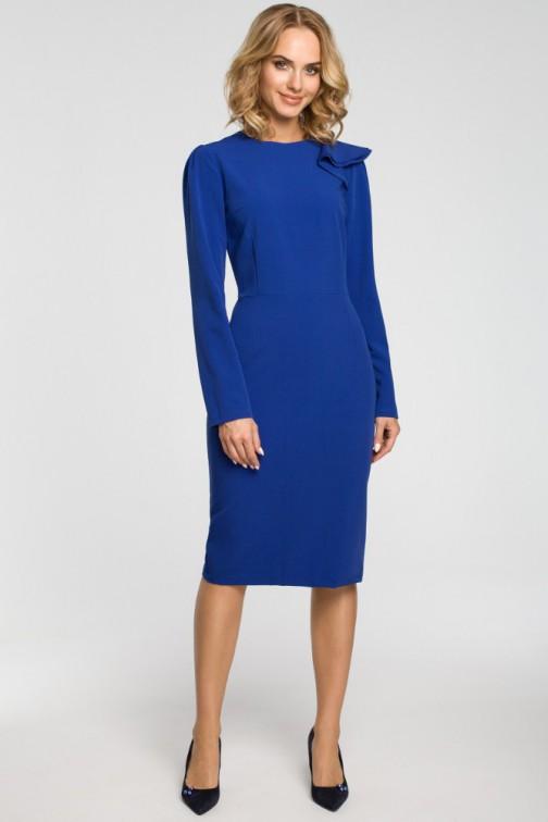CM3105 Ołówkowa sukienka z falbankami na ramieniu - chabrowa