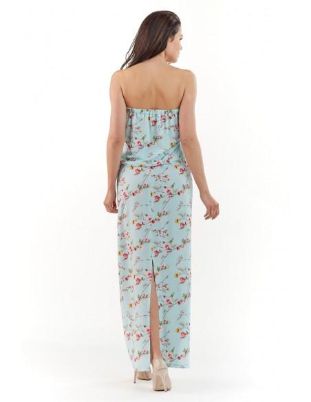 Sukienka maxi bez rękawów - niebieska
