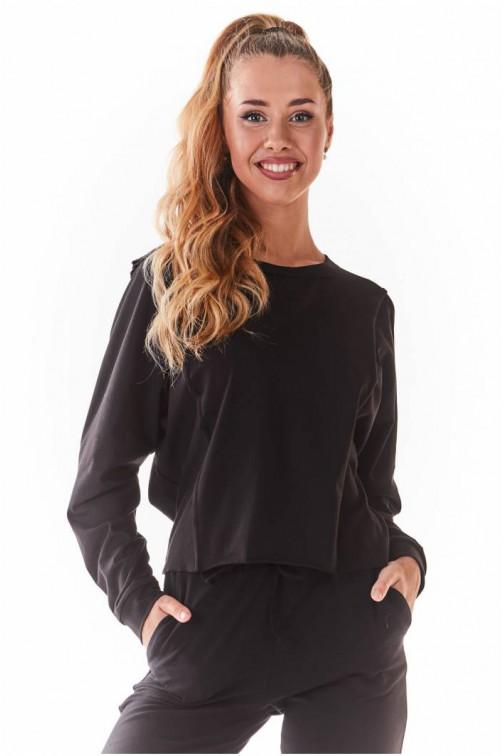 CM5438 Krótka dzianinowa bluzka - czarna