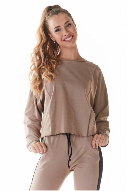 CM5438 Krótka dzianinowa bluzka - beżowa