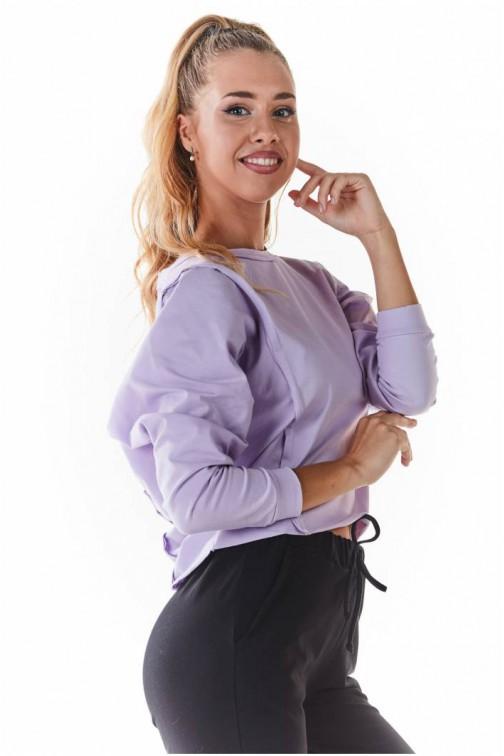 CM5438 Krótka dzianinowa bluzka - fioletowa
