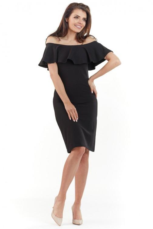 CM3729 Dopasowana sukienka z falbanką na biuście - czarna
