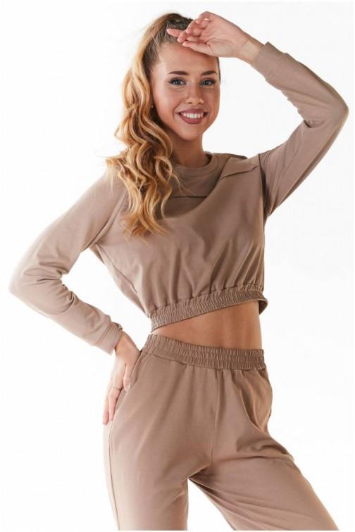 CM5439 Wygodna bluzka ze ściągaczami - beżowa