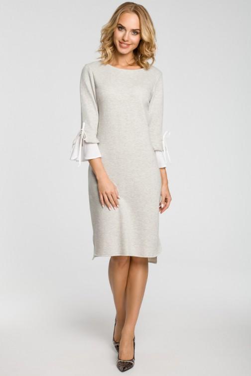 CM3106 Sukienka z warstwowymi rękawami - popielata