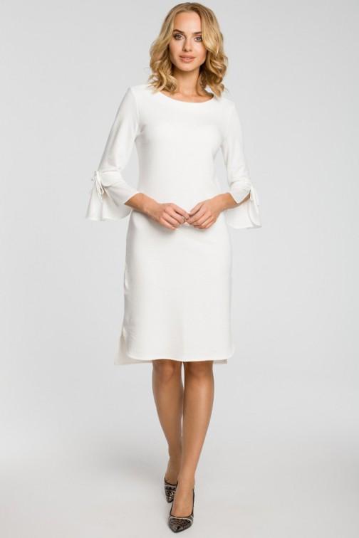CM3106 Sukienka z warstwowymi rękawami - ecru