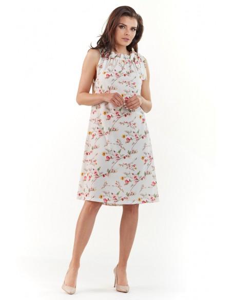 Klasyczna sukienka na ramiączkach - ecru