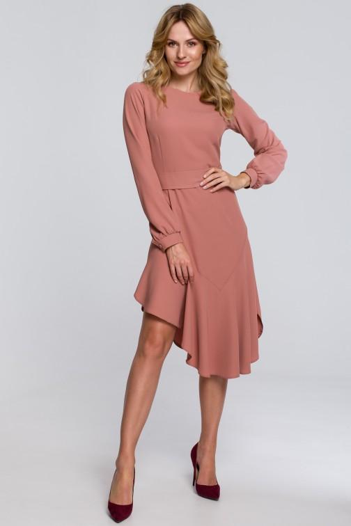 CM5454 Asymetryczna sukienka z falbanką - różana