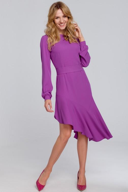 CM5454 Asymetryczna sukienka z falbanką - lawendowa