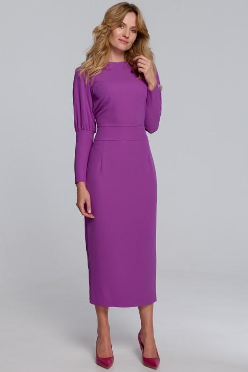 CM5456 Sukienka midi z wysokimi mankietami - lawendowa
