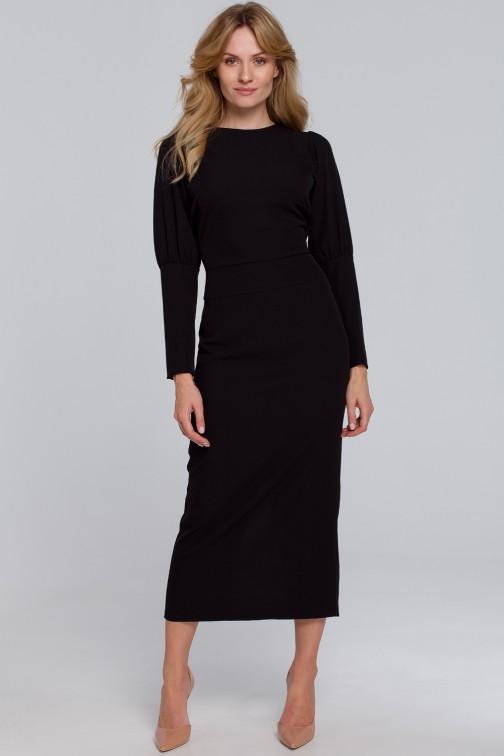 CM5456 Sukienka midi z wysokimi mankietami - czarna
