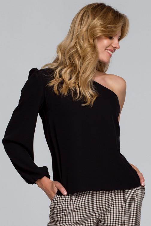 CM5457 Bluzka na jedno ramię - czarna