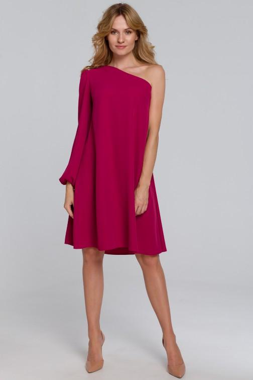 CM5458 Sukienka na jedno ramię - śliwkowa