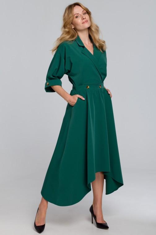 CM5463 Sukienka z asymetrycznym dołem - zielona