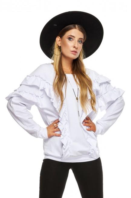 Bluza damska z falbanami - biała