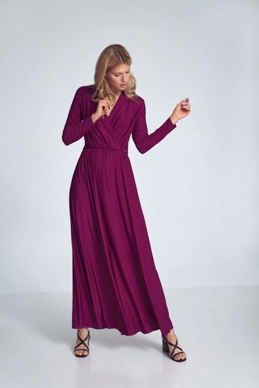 CM5481 Kopertowa sukienka maxi z długim rękawem - fuksja