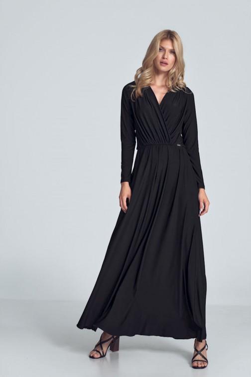CM5481 Kopertowa sukienka maxi z długim rękawem - czarna