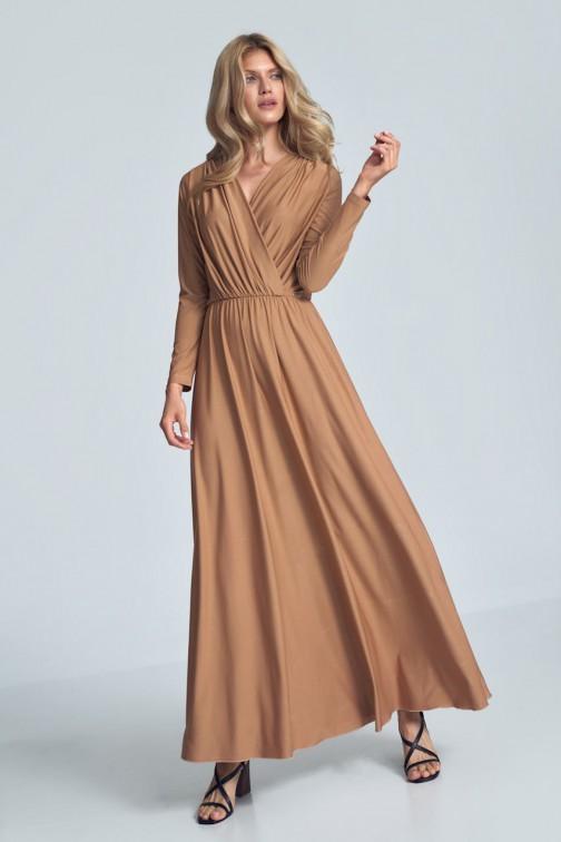 CM5481 Kopertowa sukienka maxi z długim rękawem - beżowa