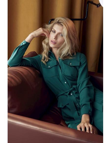 Stylowa sukienka koszulowa - zielona