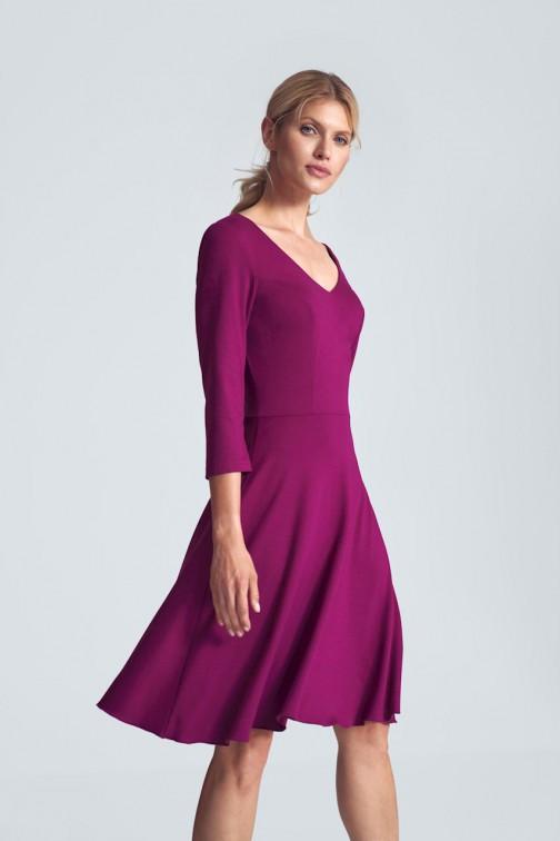 CM5485 Koktajlowa sukienka midi z dekoltem w serek - fuksja