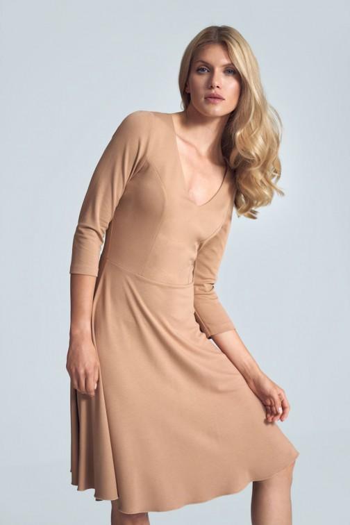 CM5485 Koktajlowa sukienka midi z dekoltem w serek - beżowa