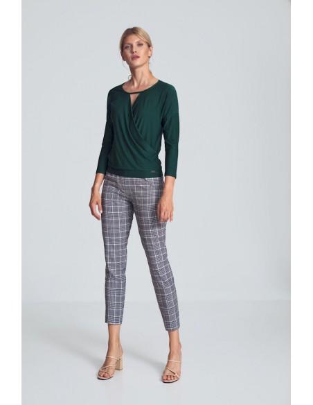 Elegancka krótka bluzka z kopertowym dekoltem - zielona