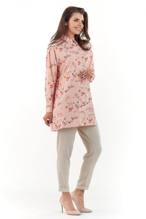 CM3741 Długa koszula z falbanką z tyłu - różowa