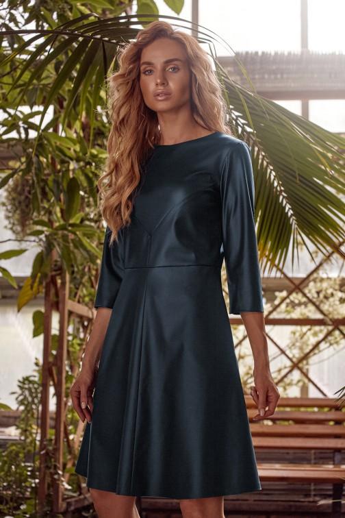 Sukienka ze sztucznej skóry - zielona