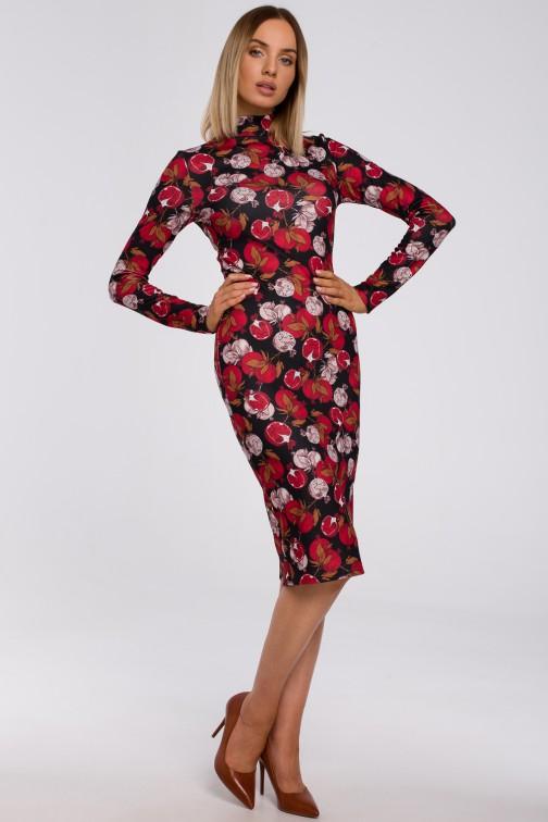 CM5491 Dopasowana sukienka we wzór z półgolfem - model 1