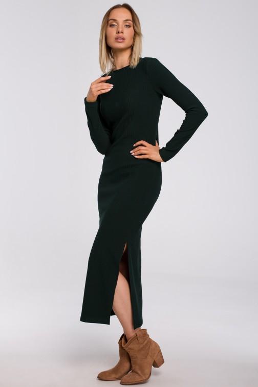 CM5492 Sukienka maxi z rozcięciem na nogę - zielona