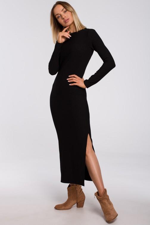 CM5492 Sukienka maxi z rozcięciem na nogę - czarna