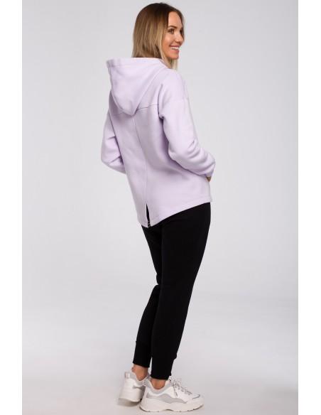 Bluza z kapturem zasuwana na zamek - liliowa