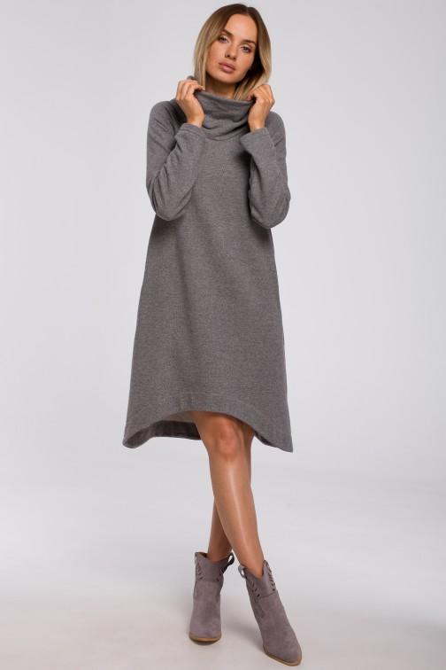 CM5499 Sukienka z asymetrycznym dołem - szara