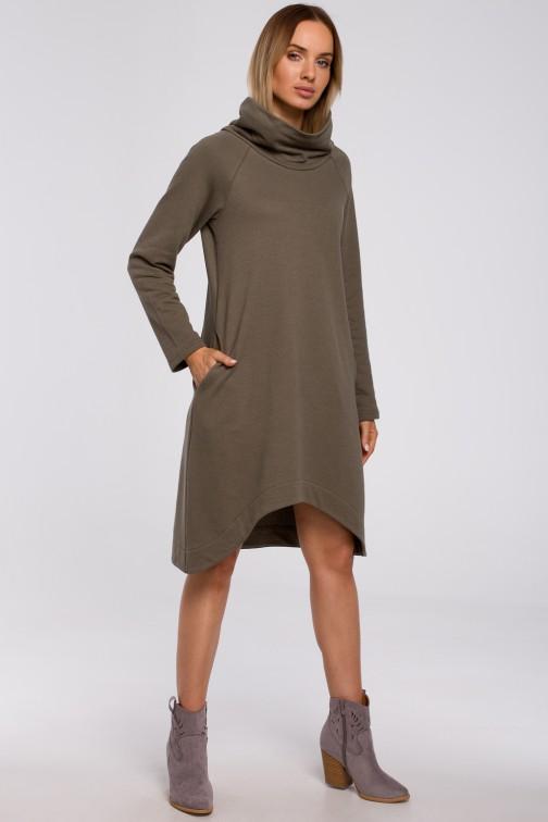 CM5499 Sukienka z asymetrycznym dołem - khaki