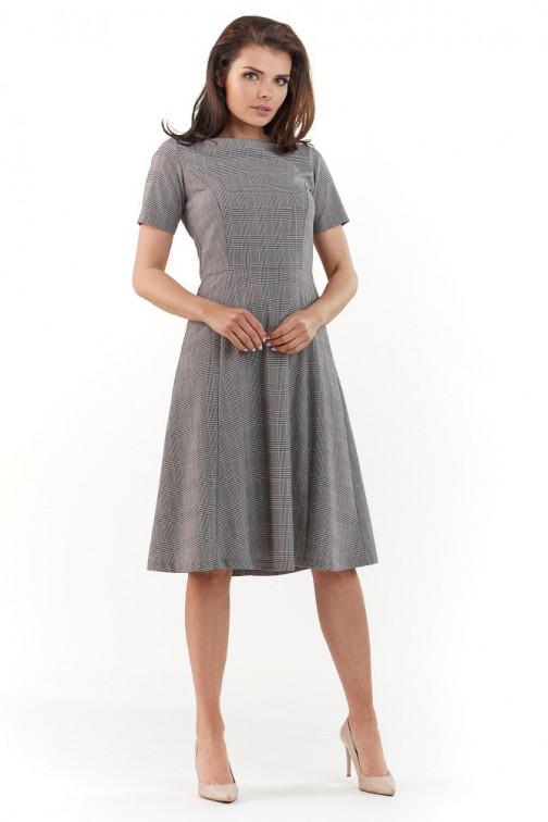 Rozkloszowana sukienka biurowa - kratka