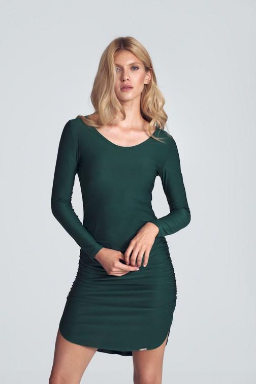CM5505 Dopasowana sukienka mini z półokrągłym dekoltem - zielona