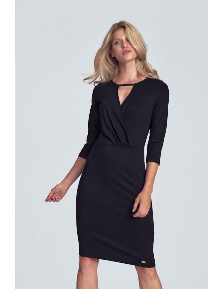 Biurowa sukienka z kopertowym dekoltem - czarna